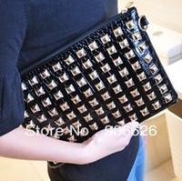 Min $15 2013 New Fashion Women's PU Leather Handbag Rivet Lady Clutch Purse Evening Bag Free Shipping