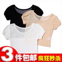 2013 puff sleeve clairvoyant outfit gauze basic shirt short-sleeve T-shirt gulps half low o-neck lace shirt female