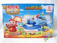 Xiaobailong blocks series of assembling building blocks toy 308 airship volcano 7602