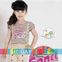 Sale 2014 Hot Kids Tshirts Retail Girls Summer Striped Tops Fake Gallus Pullovers,Free Shipping K0886
