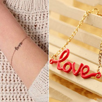 Min Order 12$ 2013 new arrival, LOVE letter chian bracelets, fashion jewelry SL0188