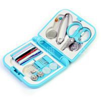 free shipping/ mini travel pp sewing box with color needle threads/ sewing kits/travel sewing set  2pcs/lot