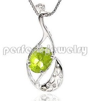 Free shipping Charms pendant Real and natural peridot 925 sterling silver pendants Wholesales Necklaces Bird style