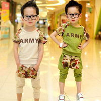 Male child baby children's clothing 2013 summer cotton short-sleeve 100% T-shirt harem pants casual set