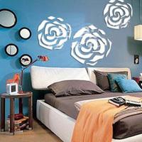 Three-dimensional crystal mirror wall stickers rose tv sofa bedroom wall embossed romantic mirror