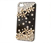 Crystal Bling Rhinestone Luxury Diamond Cute Black Wild Flower Case Cover For iPhone 4 4S  1pcs/lot
