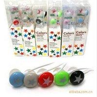 Hot Sale 90pcs/lot DHL Free Ship! Chocolate Stars Color Earphone, Candy Earpiece Colorful Headphone Headset w/ Bag Pack
