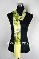 Light Green Beauty High Quality Different Colours Floral Hot Purity Plain Slik Scarf