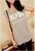 2014 New Fashion Rivet Punk T-shirts Women's Letters Printed Sleeveless Tops Leasure Summer Tees Casual Wear TS-254