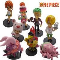 New One Piece 8pcs figures Chopper Zoro Sanji Nami Usopp gift toy