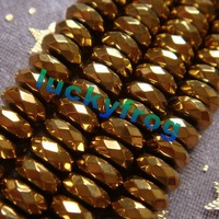 2015 New!!! Free Shipping  AAA 6x3mm Gold Hematite Rondelle Loose Beads 136pcs/lot Wholesale