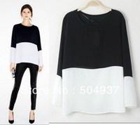 Free Shipping 2013 New Designer Fashion Women's  Elegant Classic Black White Blouses,Lady Chiffon Loose Top Shirts Blouse