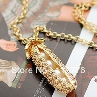 free shipping mix lot wholesale  fashion jewelry 18 k gold pea accessories pearl austria crystal with swarovski Sweater necklace