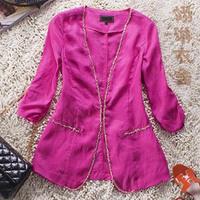 2014 outerwear fashion linen women's slim medium-long slim blazer top ym0001