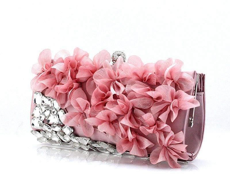 Rhinestone gem petal flower evening bag chain tote bag day clutch bridal bag(China (Mainland))