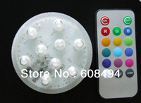 Remote control submersible 9 led light in assorted colour Waterproof Candle Lamp Party Decoration RC 9 Lamp- multicolor