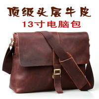 SALE Vintage first layer of cowhide genuine leather men's messenger bag shoulder bag 13 laptop bag
