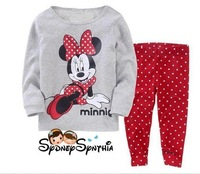 New Autumn minnie mouse gray Baby Pajamas 6SETS/Lot 2PCS Set: Long T Shirt And Pants Free Shipping Kids Clothes Sleepwear