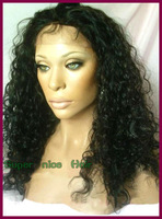 Free shipping 100% human hair lace wig curly Indian remy full lace wig with baby hair for black women
