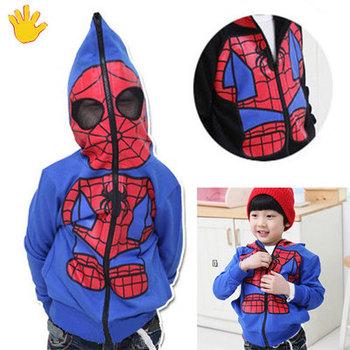 NEW Kids Spiderman Coat Boys Hoodies Girls Full Zipper Mask Jacket Size 3-8 Year
