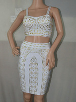Bandage Dress Two Pieces Crop Top And Skirt TP003  Studded White Color Sexy Luxury  2 PIECE