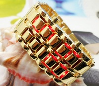 2013 New Arrival Luxury LED Watch Lava samurai metal bracelet gold watches Red Blue LED Date lovers gifts
