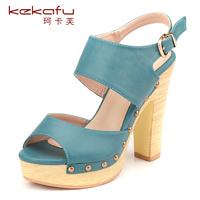 Short in size sandals rivet vintage wood grain thick heel women's ultra high heels shoes