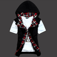2013 spring and summer oblique zipper thin men's clothing vest fashion 100% cotton male vest plaid vest