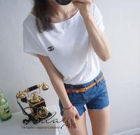 new arrival women's cotton short sleeve t-shirt shirts tops white black blue