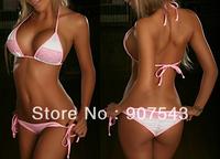 For Women Free shipping Free size white&pink lace Swimsuit Swimwear Bathing Suit No Padding Bikini bra&underpants Sets BN37