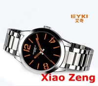 Newest EYKI Luminous Pointer 3ATM Japan Quartz Men Steel Wrist Watch Orange