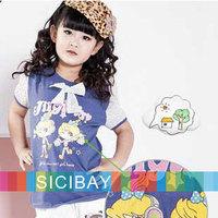 Cartoon Tshirts for Little Girl Summer Wear Children Cute Pullovers,Free Shipping K0889