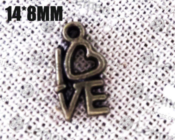Free ship! 100pcss/lot 14x8mm love charm pendant jewelry connector jewelry accesorry findings