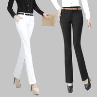 Spring 2013 bell-bottom casual trousers elastic women's straight ol pants female trousers white plus size available