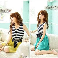 2014 Fashion Summer Ladies Chiffon Stripes Dress Sleeveless Scoop Neck Splicing Vest Mini Dress With Belt 2 Colors