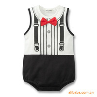 2013 baby romper 100% cotton fake tie bow tie red romper boy baby triangle climbing