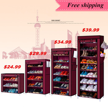 Shoe cabinet shoes racks storage Large capacity single-row non-woven shoe combination of simple