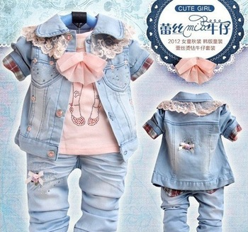 Stock Clearance Free Shipping Retail 1pc Girls Set Jeans Set 3PC T Shirt +Coat+Jeans Baby Clothes Set 70CM Baby Suit Clothes Set