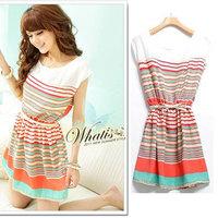 [Unbeatable At $X.99] 2015 Summer Colorful Stripes Orange Chiffon Mini Dress Short  Women's Dresses Vestidos Casua Free Shipping