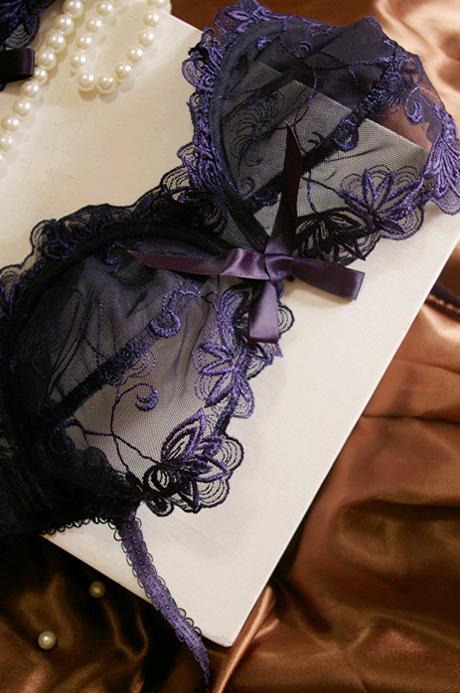 Sexy transparent gauze fashion plus size embroidery ultra-thin navy blue bra underwear(China (Mainland))