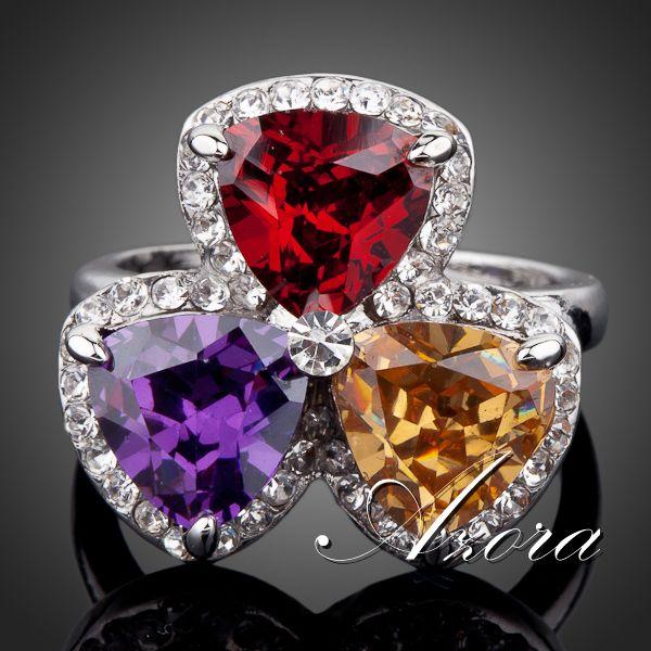 AZORA Platinum Plated 3pcs Multicolor Triangle Rhinestone Paved Garnet Cubic Zirconia Finger Ring TR0070