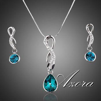 Азора новый платиновым покрытием синий Stellux австрийский хрусталь падение серьги и ожерелье ювелирные комплект TG0015