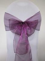 Dark Purple Sonw Organza Chair Sash For Wedding Event &Party Decoration