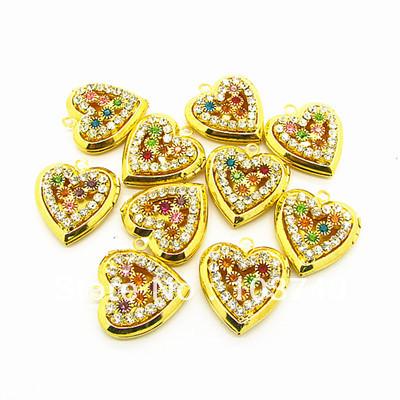 10pcs free shipping fashion heart copper pendant gold plated Prayer Box Photo Locket pendant multicolor cz charms HB704(China (Mainland))