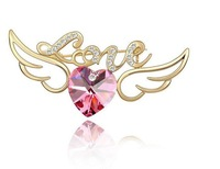 Exquisite noble broochs elegant  letter love Heart shape shiny Crystal brooch Jewelry 10 color selection free shipping