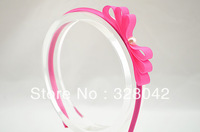 princess girl satin covered Grosgrain Ribbon flowers headwear satin ribbon bow with pearl headbands hair accessory 80 pcs/lot