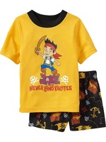 free shipping baby boy cartoon character jake tshirt+pant short sleeve cotton pajamas set 6 sizes ready stock