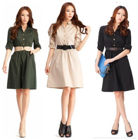 free Shipping single-breasted plus size casual dress women dresses new fashion 2013 summer autumn with belt  drop shipping