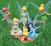 Pop 10set/lot PVC Beautiful Tinkerbell Fairy Adorable tinker bell Figures (6pcs/set)