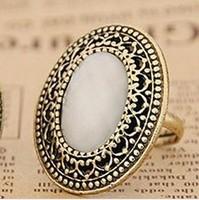 Min. order $9 Fashion large size oval shape gem vintage ring